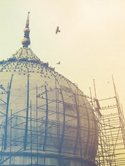 Bird tower (thejuniorpartner) Tags: red india building green bird stone architecture photoshop minaret delhi muslim islam experiment mosque jamamasjid