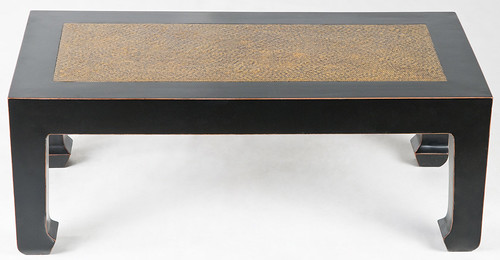 li1012y-asian-coffee-table - Asian Inspired Coffee Table With Rattan Top Asian-inspired Glossy