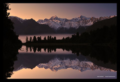 I can see the wind (anthonyko) Tags: morning newzealand sky lake snow mountains sunrise foxglacier mtcook southisland westcoast lakematheson mttasman