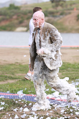 Foamy Suitman (Mr. Muddy Suitman) Tags: lake mud tie run suit foam irvine