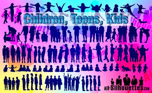Click en la imagen para descarga 85 Siluetas en formato vector - Bebes, niños y adolescentes