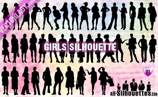 Click en la imagen para descarga 41 Siluetas en formato vector - mujeres