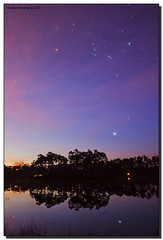Orion High in the Night Sky (Fraggle Red) Tags: longexposure trees lake night clouds stars island nationalpark twilight florida sirius orion evergladesnationalpark canismajor canonef1740mmf4lusm pinetrees enp longpinekey miamidadeco adobelightroom3