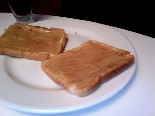 PB toast, Diet Coke