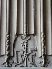 "linenfold panel with ""RF"" monogram (d0gwalker) Tags: hampshire tudor statelyhome nationaltrust chute sandys rf thevyne vyne linenfold oakpanelling oakpaneling"
