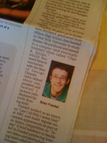 I'm in the paper!