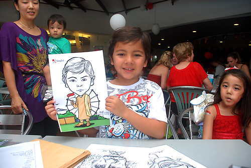 Caricature live sketching for The British Club and Singtel -10