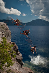 Geronimo! (Nick Chill Photography) Tags: friends summer cliff water oregon fun photography jumping nikon image stock flip multiple splash geronimo coolingoff craterlakenationalpark d300s nickchill photoshopcs5