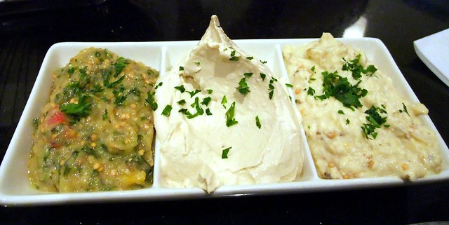 Assorted Dips: Green Eggplant, Hummus and Baba Ghanoush