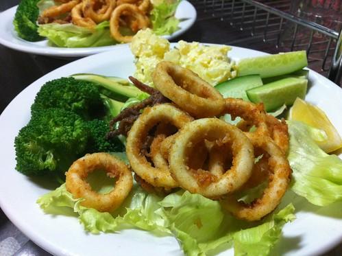 Calamari, Sage Potatoes & Salad