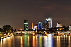 Frankfurt Skyline (usabin) Tags: reflection water skyline night river germany lights skyscrapers frankfurt main calm mainhatten sabin usabin