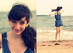 Paula Diptych (leasqueaky) Tags: ocean summer newyork beach water girl canon 50mm sand diptych cross greeneyes filter statenisland process 18 blackhair xsi romper diptchy