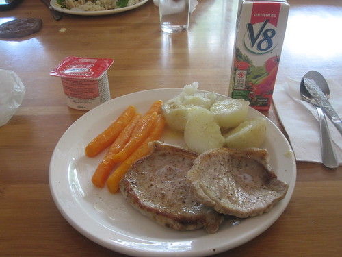 pork shops, carrots, potatoes, V8, yogourt