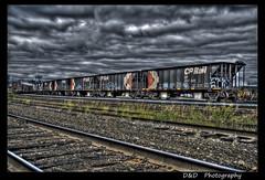 cp rail box cars sudbury hdri with tonemapping (Danno 3 - D & D Photo Sudbury - Dan Chenier) Tags: street city railroad travel blue urban ontario canada motion black cars up car