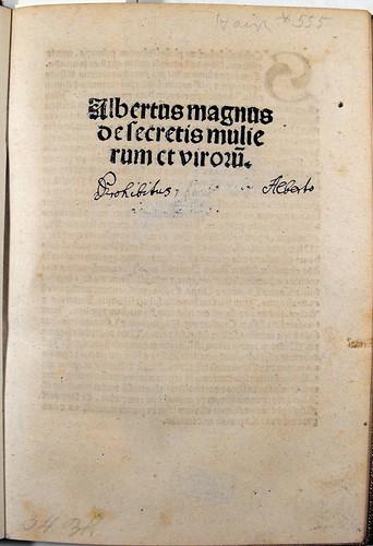 Title-page 'Secreta mulierum et virorum' Sp Coll Ferguson Ah-a.31