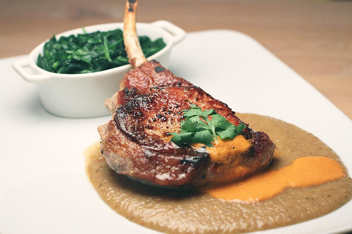 Pan-Roasted Pork Chops With Yellow Pepper Mole Sauce ...