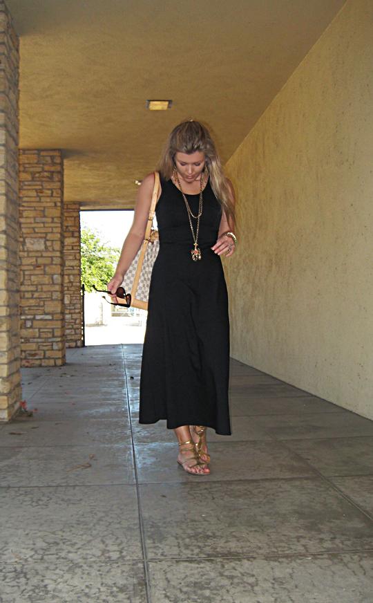 simple black dress+gold accessories+louis vuitton bucket damier azur bag