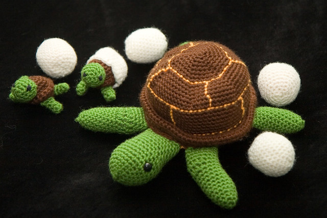 Crocheted Turtles with Eggs