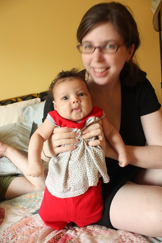 Red and gray polkadot baby ensemble