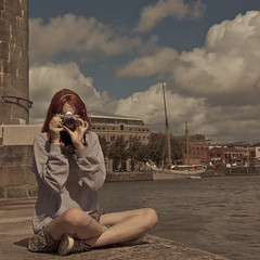 236/365 (Owain Thomas) Tags: camera red sky sun water girl hair bristol square boat nikon grain assignment millenium august 365 redhair clifton dull milleniumsquare d90 filmlike pollythomas