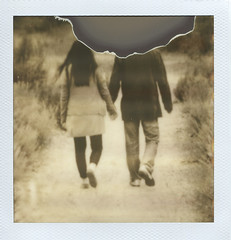 holding (.Happy.C.) Tags: people blackandwhite bw film polaroid sx70 couple scanned imp px100 firstflush instandfilm epsonv300 theimpossibleproject