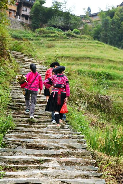 Yao women in Longsheng Rice Terrace, Guangxi, China