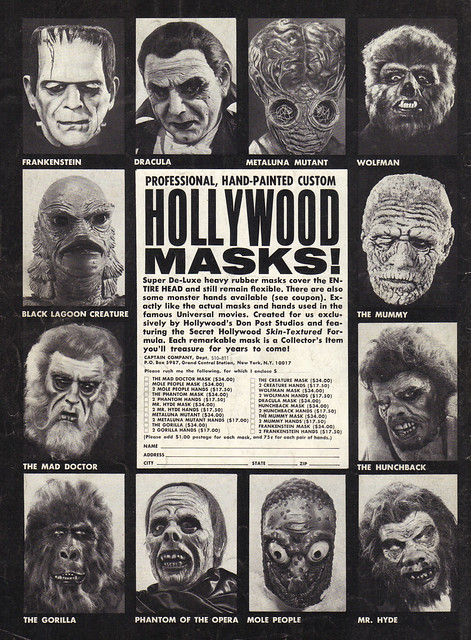 Vintage Ad #1,185: Be a Cool Ghoul with Professional Hollywood Masks!