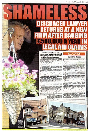 Disgraced lawyer returns at a new firm after bagging 560K in legal aid claims - Sunday Mail  29 August 2010
