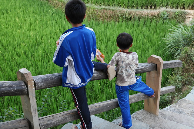 Brothers synchronized posing, Chengyang, Guangxi, China