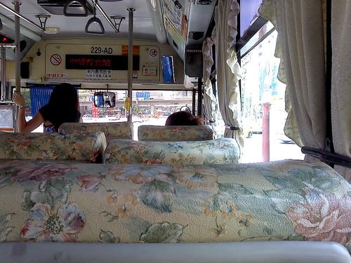 台北。公車,提花布椅子