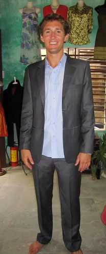 Hoi An - Greg Trying on His Gray Pin Stripe Cashmere Suit