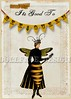 """""""It's Good to 'BEE' Queen"""" 5x7 collage (ms_mod) Tags: old black art yellow collage digital vintage paper heart antique mixedmedia flag victorian garland valentine queen ephemera bee bumblebee card crown etsy anthropomorphic bunting queenbee penant dollfacedesign"""
