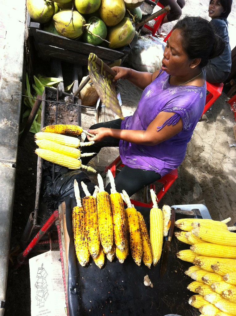 BBQ corn vendor, Sanur beach, Bali