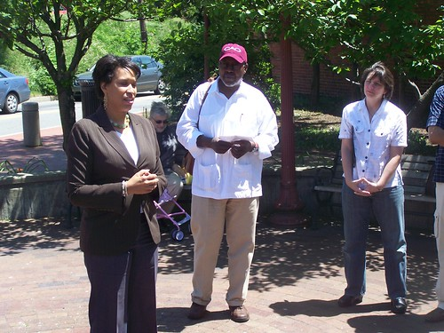 Councilwoman Muriel Bowser speaking at a May 2010 event heralding the completion of the Takoma DC commercial facade improvement project