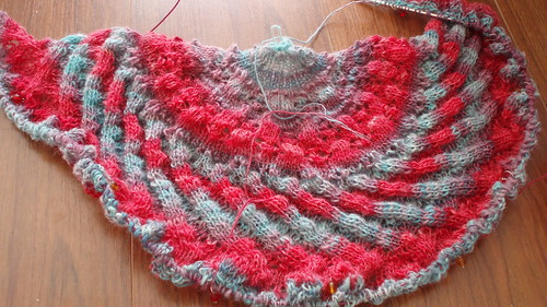 handspun EZ 100th anniversary shawl wip