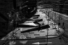 Maze (Anne Worner) Tags: anneworner bergen bergenstorsenter bergenbusstasjon blackandwhite ricohgr silverefex bw buildings candid downtown mono pavement people road shadows streetphotography street urban walking backlight contrejour