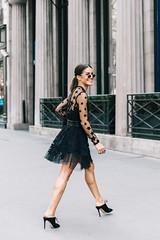street-style-looks-from-fall-2017-Couture-Shows-in-Paris_Cool-Chic-Style-Fashion (Cool Chic Style Fashion) Tags: denim fallwinter20172018 fashion fashionweek lacedress miniskirt parisfashionweek ponytail shorts streetstyle whitedress whiteshirt