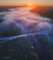 River of fog (Arturs Barzdis) Tags: fog morning sunrise mist bridge river latvia latvija gauja sigulda turaida aerial dji phantom 4 pro drone landscape nature wood national park