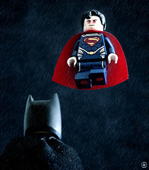 Batman vs Superman (Jezbags) Tags: lego legos toys toy minifigure minifigures macro macrophotography macrodreams macrolego canon60d canon 60d 100mm closeup upclose dc dclego legodc superhero superman super batman rain flying fly mask bat