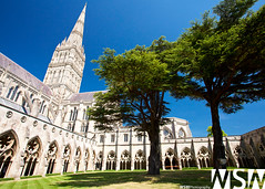 Salisbury Cathedral Courtyard (Wizum) Tags: uk travel england tower church countryside town worship gallery catholic cathedral gothic courtyard steeple salisbury salisburycathedral