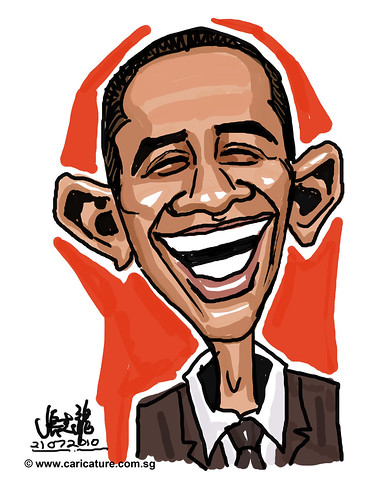 cartoon drawing demo of Barrack Obama - 1