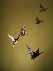 Origami Cranes (crayonmonkey) Tags: blue green birds mobile paper happy japanese origami crane craft cranes luck wish papier superstition paperfolding papiroflexia tsuru crayonmonkey