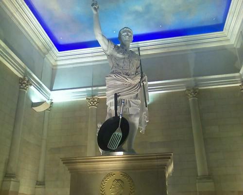 Caesar has a frying pan & spatula in Atlantic City.