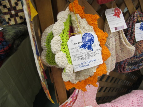 My crocheted dishcloths at the Fair