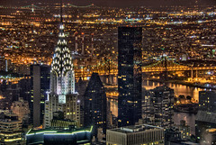 Chrysler Building Aerial at Night - Manhattan (Mister Joe) Tags: above nyc newyorkcity urban newyork skyline night buildings lights nikon cityscape skyscrapers manhattan bridges aerial nyny dynamicrange chryslerbuilding hdr towering