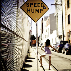 happy hump day everyone! (sweethardt) Tags: road portrait woman cars sign female speed self fence days chainlink sidewalk signage 365 brunette curb hump speedhump