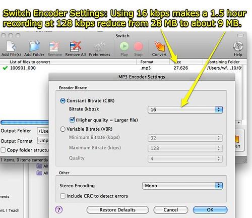 MP3 Encoder Settings - Switch