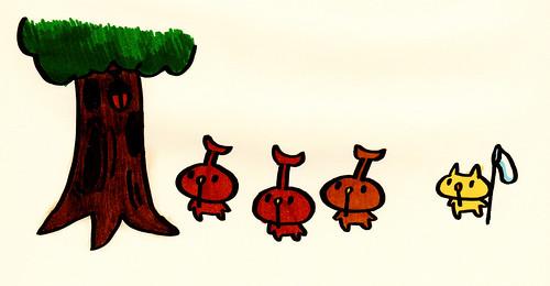 木にとまっているカブトムシを見ている、カブトむー