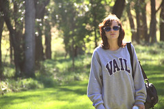 Alexa (itsjessie) Tags: light summer woman sun cute green fall girl beautiful sunglasses wonderful hair bag hoodie woods bright bokeh sunny shades curly vail short greenery alexa brunette lovely camer pullover