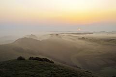 Dawn. (Stuart Stevenson) Tags: morning trees light orange sun mist cold fog rising dawn golden scotland early heather scottish hills layers bog heathland latesummer clydevalley earlyautumn canon5dmkii stuartstevenson climbinthedark